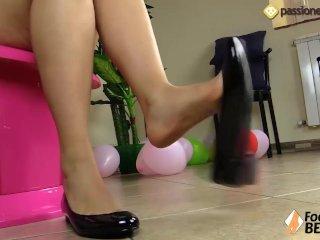 Barefoot brunette shoeplay in ballet flats