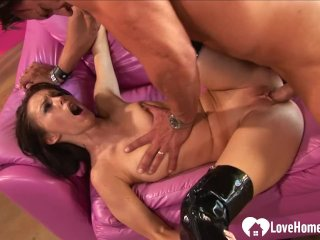 Horny slut in boots gets plowed hard