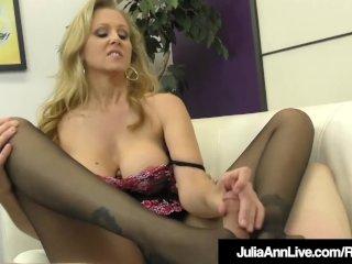 Femdom Milf Julia Ann Teases A Slave Cock With Stockings!