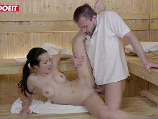 LETSDOEIT – Hot Brunette Seduces and Fucks Stranger in the Sauna