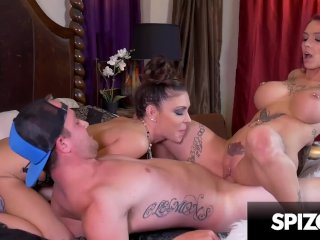 Hot tattooed redhead in a hardcore threesome with Jessica Jaymes – Spizoo