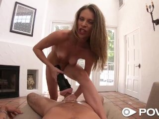POVD Soaking wet pussy SLIDES up and down on HUGE cock