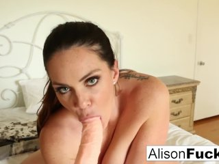 Alison talks to the viewer while playing with herself