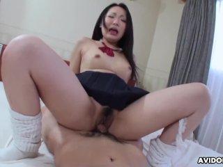 Mizuki is blushing while having hardcore sex with her professor