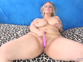 Busty Plumper Beauty Sinful Samia Pleasures Herself with Sex Toys