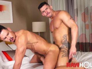 RAWHOLE Muscular Latinos Bareback After Rimjob and BJ