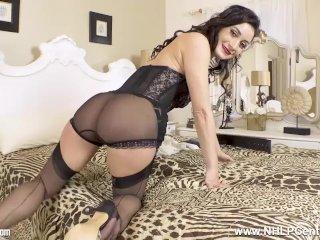 Saucy latin brunette Valentina Bianco wanks in sheer black vintage nylons