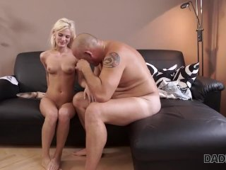 DADDY4K. Adorable lassie gives blowjob to old man and expects fucking
