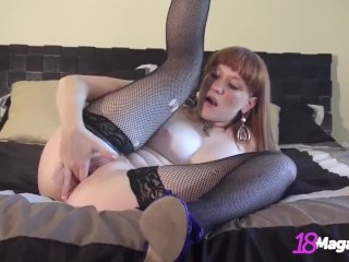 Cute Ginger Coed Lucy Daily Finger Bangs In Fishnets & Heels