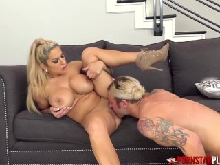 PORNSTARPLATINUM Blonde Alyssa Lynn Rides Big Cock After BJ