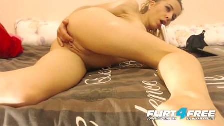 Flirt4Free - Angelika Ji -  Squirting Blonde with Big Tits Dildos Herself
