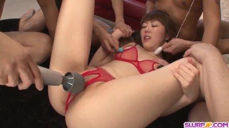 Rei Furuse deals a bunch of dicks in all sort of - More at Slurpjp com