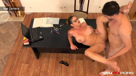 YOUMIXPORN Interactive - Busty Teacher Cathy Heaven fucks horny student