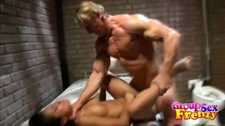 Prison Threesome Fucking Ends With Facials and Cum In Mouth
