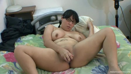 Chubby alt chick masturbates with her big purple dildo