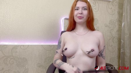 Big titty tattooed redhead Kate Utopia masturbating