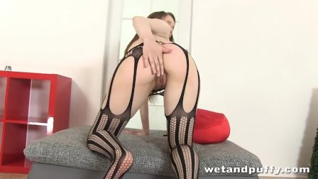 Hot Babe Nancy Pisses In Sexy Bodystocking