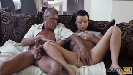 DADDY4K. Guy with headphones doesnt hear how his babe has hot sex